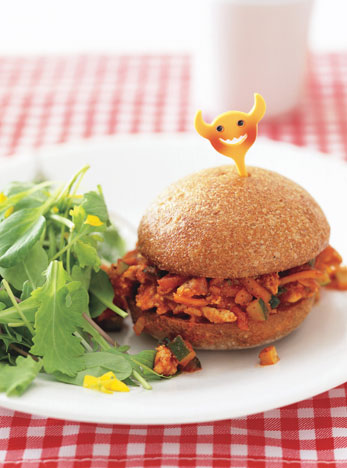 turkey sloppy joe on white plate